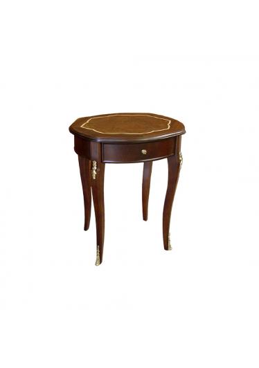 Mesa Lateral Asti II Oval Personalizado Madeira Maciça Detalhe em Marchetaria Design Clássico