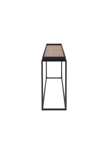 Mesa Lateral Kayes Tampo Couro Reconstituído Base Aço Carbono Design Minimalista