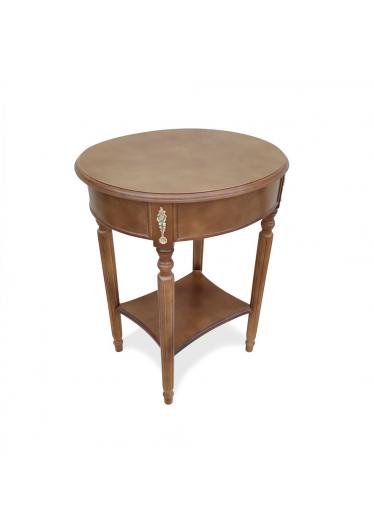 Mesa Lateral Pisa com Gaveta Personalizado Madeira Maciça Detalhe em Marchetaria Design Clássico