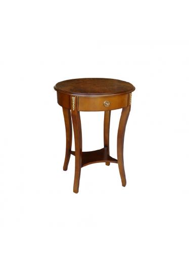 Mesa Lateral Regência II Oval Personalizado Madeira Maciça Detalhe em Marchetaria Design Clássico