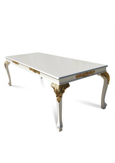 Mesa Luis XV em Laca Branca com Detalhes em Ouro de Madeira Desmontável com Varias Medidas