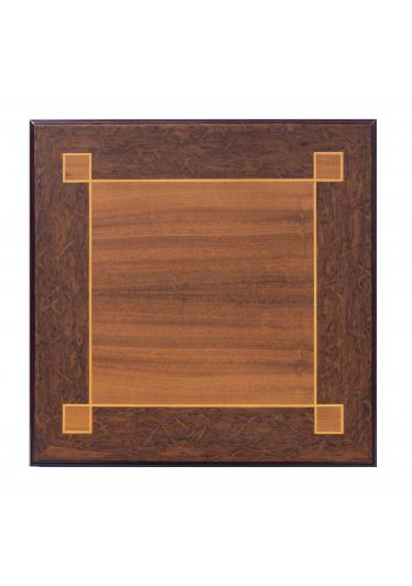 Mesa de Apoio Clássica Quadrada em Marchetaria Lâminas de Imbuia e Filetes Madeira Maciça