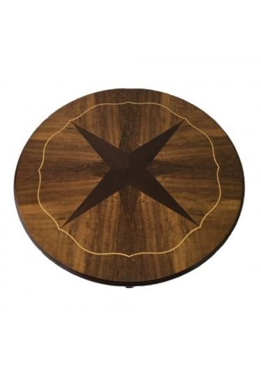 Mesa Redonda Star Detalhes em Marchetaria Lâminas de Imbuia e Filetes Madeira Maciça