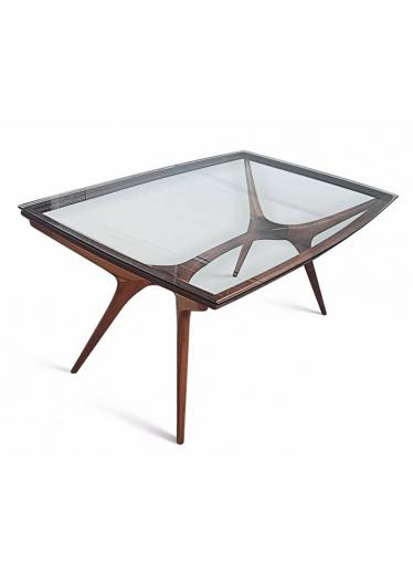 Mesa Vladimir Kagan em Madeira Maciça de Imbuia com Vidro para 6 ou 8 Lugares