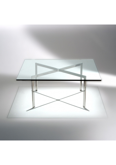 Mesa de Centro Barcelona Estrutura Aço Inox Tampo Vidro Cristal Studio Mais Design by Mies Van Der Rohe