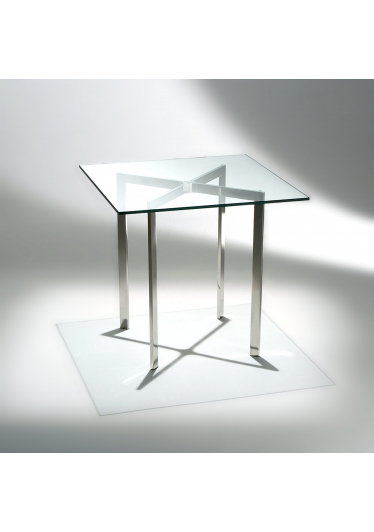 Mesa Lateral Barcelona Estrutura Aço Inox Tampo Vidro Cristal Studio Mais Design by Mies Van Der Rohe