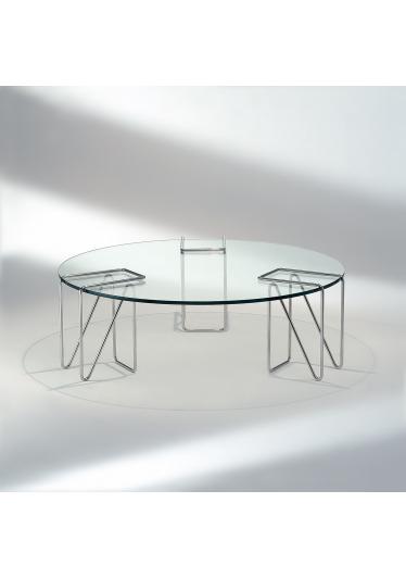 Mesa de Centro Clips Peças em Aço Inox Tampo Vidro Cristal Studio Mais Design by Studio Nada se Leva