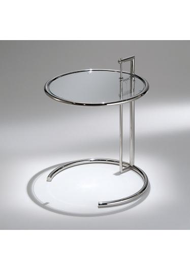 Mesa Lateral Eileen Gray Regulagem de Altura Aço Inox e Tampo Vidro Cristal Studio Mais Design by Eileen Gray