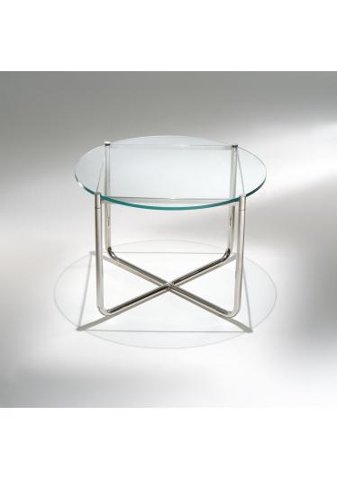 Mesa Lateral MR Estrutura Aço Inox Tampo Vidro Cristal Studio Mais Design by Mies Van Der Rohe