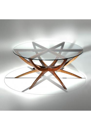 Mesa de Centro Star Madeira Tonalizada e Tampo Vidro Cristal Design by Studio Mais