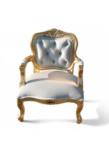 Mini Poltrona Luis XV em Capitone com Pinturas e Tecidos Customizados