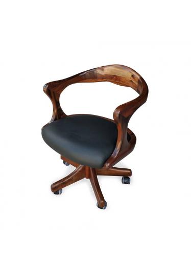 poltrona giratória retro madeira macica couro preto