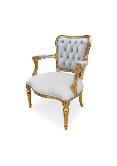 Poltrona Luis XVI Entalhada em Madeira com Pinturas e Tecidos Personalizáveis