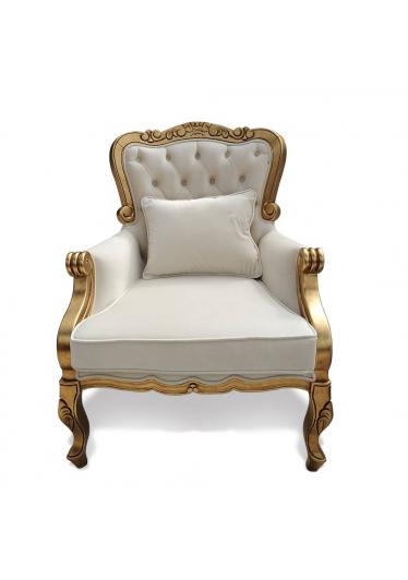 Poltrona Luxo Entalhada em Madeira com Pinturas e Tecidos Personalizáveis