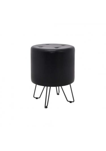 Puff Luce Estofado Couro Sintético PU com Base Aço Carbono Preto Design Industrial e Minimalista