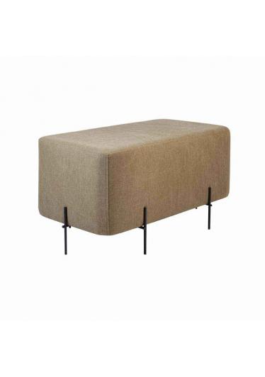 Puff Nobilis Retangular Estofado com Base Aço Carbono Design Industrial e Minimalista