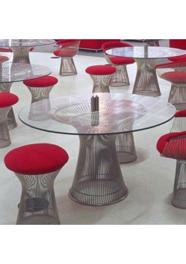 Banqueta Puff Platner Assento Estofado Estrutura em Aço Nolan Collection Design by Warren Platner