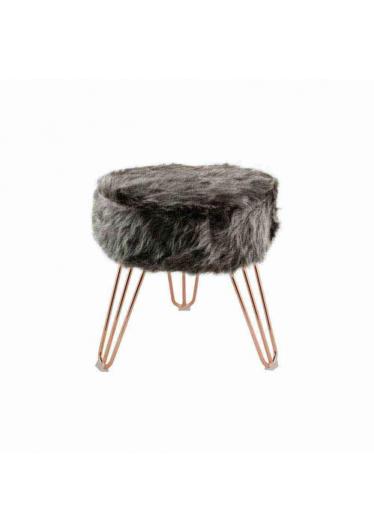 Puff Breeze Estofado Pele Sintética Base Aço Carbono Design Industrial e Minimalista