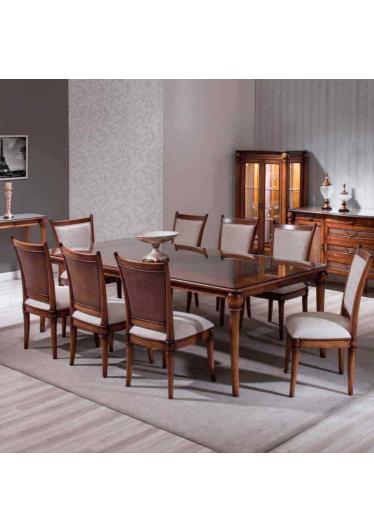 Mesa de Jantar Victory Madeira Maciça Design Clássico Avi Móveis