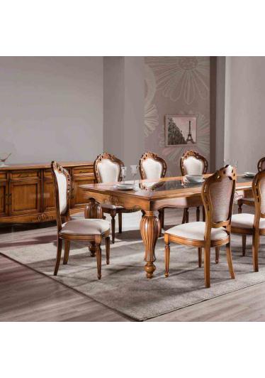 Mesa de Jantar Luxo Tampo com Vidro Madeira Maciça Design Clássico Avi Móveis