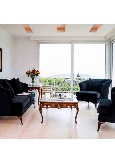 Sofá Casual 2 Lugares Madeira Maciça Design Clássico Avi Móveis