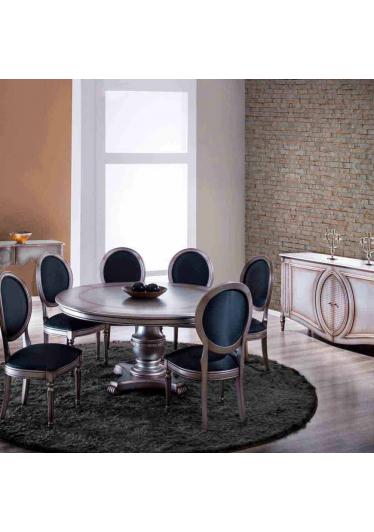 Mesa de Jantar Ellos Redonda Madeira Maciça Design Clássico Avi Móveis