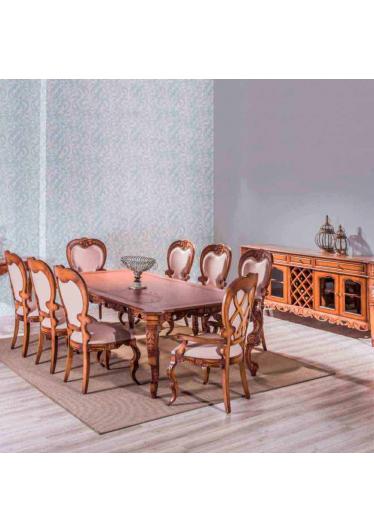 Mesa de Jantar Premier Madeira Maciça Design Clássico Avi Móveis