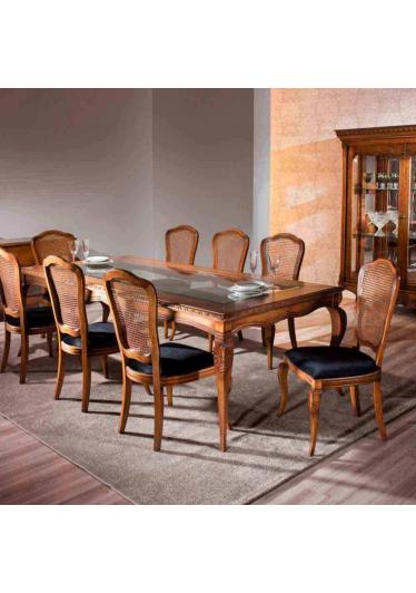 Mesa de Jantar Hillux Tampo com Vidro Madeira Maciça Design Clássico Avi Móveis
