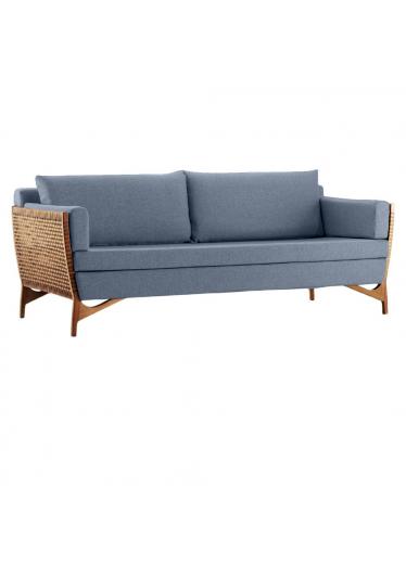 Sofá Cutiê Tecido Azul - Corda Fita