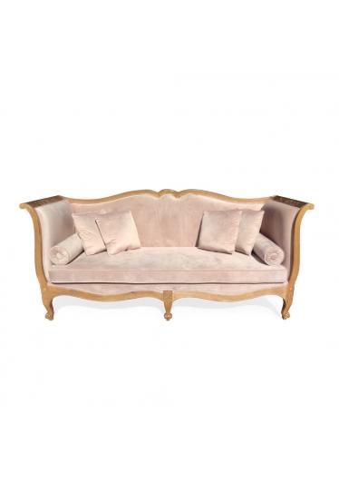 Sofa Luiz XV em Madeira Maciça com Pinturas e Tecidos Personalizados