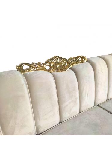 Sofá Napoleão Entalhado Madeira Maciça Design de Luxo Peça Artesanal