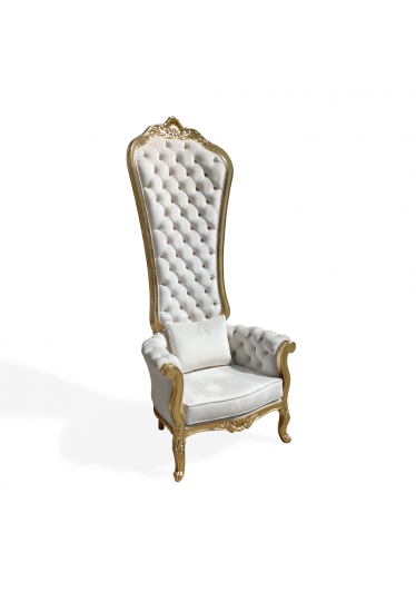 Trono Real Capitonê Madeira Maciça Design de Luxo Peça Artesanal