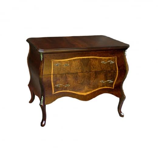 Cômoda Bombê Louis XV Personalizado Madeira Maciça Detalhe em Marchetaria Design Clássico