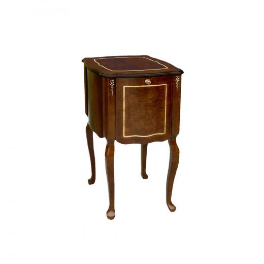 Criado Mesa de Cabeceira Licoreira Personalizado Madeira Maciça Detalhe em Marchetaria Design Clássico