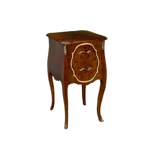 Criado Mesa de Cabeceira Louis XVI Personalizado Madeira Maciça Detalhe em Marchetaria Design Clássico