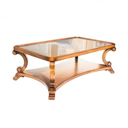 Mesa de Centro Nicolau Tampo com Espelho em Bronze Madeira Maciça Design Clássico Avi Móveis