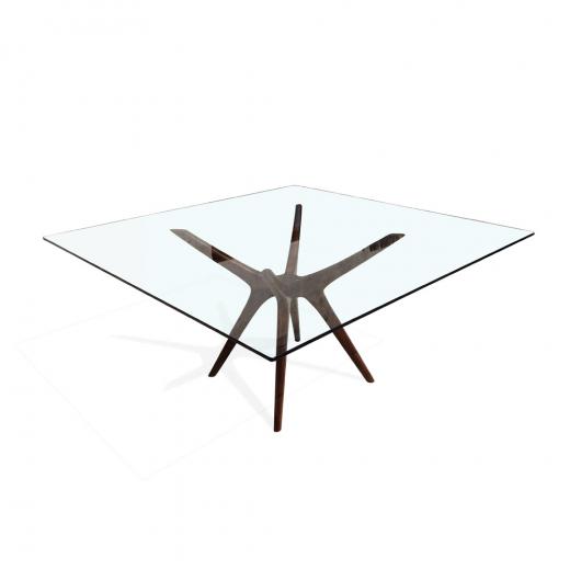 Mesa de Jantar Palito Quadrada Tampo de Vidro Base Imbuia Design Retrô
