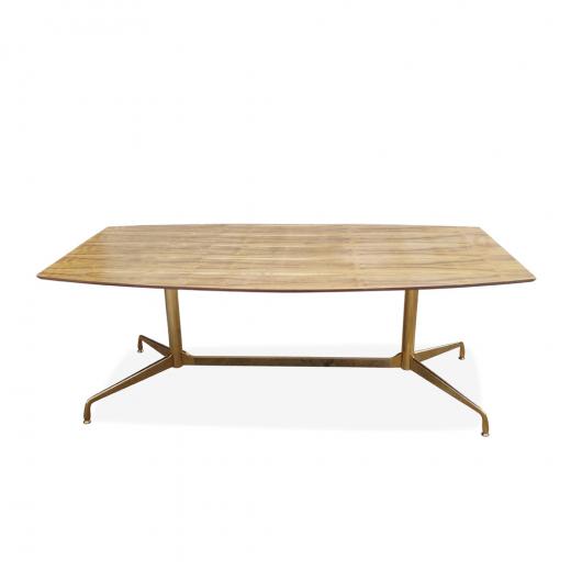 Mesa de Jantar Segmentada Raiada 2 Colunas Base Dourada Design by Charles e Ray Eames