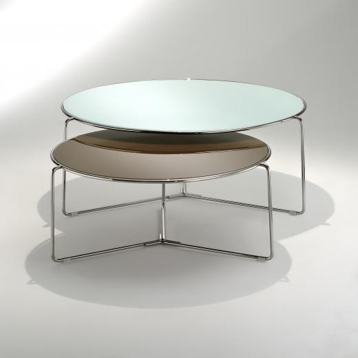 Mesa de Centro Tavoline Estrutura Aço Inox e Tampo Vidro Cristal Design by Studio Mais