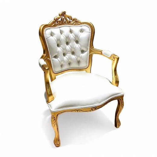 Poltrona Luis XV Entalhada em Madeira com Pinturas e Tecidos Personalizáveis
