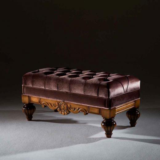 Puff Luxo Retangular Madeira Maciça Design Clássico Avi Móveis