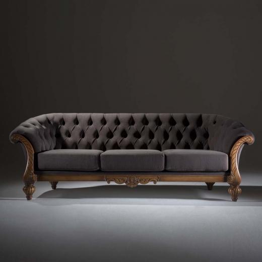 Sofá Luxo 3 Lugares Madeira Maciça Design Clássico Avi Móveis