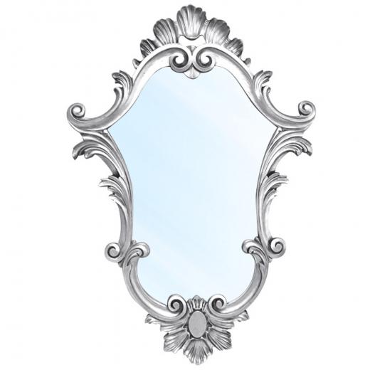 Espelho Clássico Verona em Resina e Pintura Branco Pátina